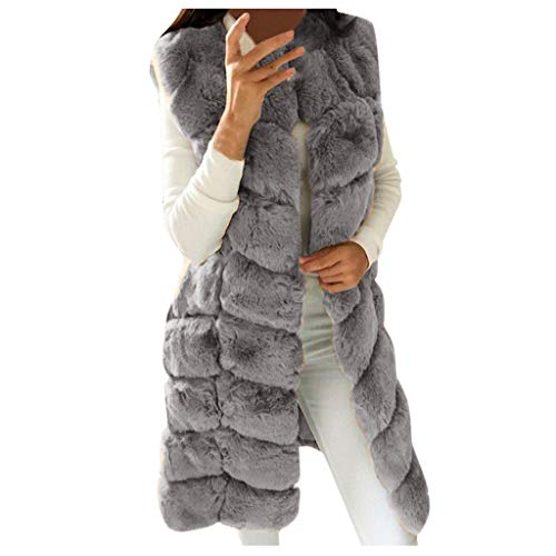 SANFASHION Damen Pelz Fellweste Weste Frauen Lederweste Fellweste Faux Fur Vest Gilet Waistcoat Winter