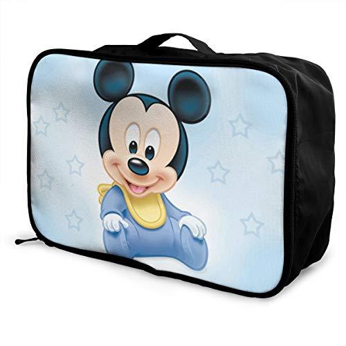 Meirdre - Borsone da viaggio per bambini, motivo: Topolino e cielo, leggero, grande capacità, portatile, borsa per weekender durante la notte