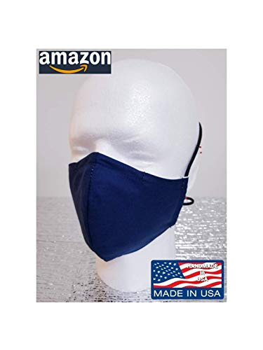 Double layered NAVY BLUE handmade face mask with nose wire, washable, all size available XXL, XL, L, M, S, TIE BACK or Ear Band, unisex adult, Made in USA.