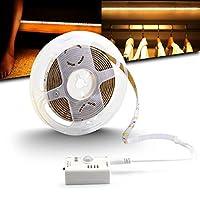 Striscia LED intelligente ricaricabile, con sensore di movimento da 9,9 m, luce bianca calda, modello con sensore di giorno e notte, adatta per armadi, armadio, cucina, letto, scale,feste all'aperto