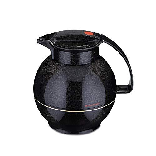ROTPUNKT Isolierkanne 360 Sissy 1,0 l | Zweifunktions-Drehverschluss | BPA Frei- gesundes Trinken | Made in Germany | Warm + Kalthaltung | Glaseinsatz | Sparkling Black