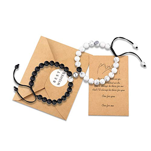 KINGSIN Couple Gifts Couples Magnetic Boyfriend Girlfriend Bracelets Distance Matching Relationship Beaded Bracelet Couple Gifts for Best Friend Women Men Him His Hers BFF Bf Gf Lover