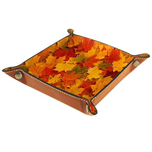 Bandeja de Cuero - Organizador - Hojas de otoño rojas y naranjas amarillas - Práctica Caja de Almacenamiento para Carteras,Relojes,llaves,Monedas,Teléfonos Celulares y Equipos de Oficina