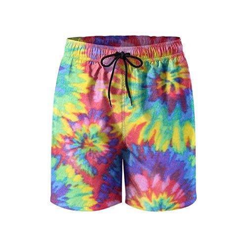 ZQ-SOUTH Herren Shorts mit Batik-Druck, schnelltrocknend, für Sommer, Strand, Surfbrett, Badehose, Cargo-Shorts - - Large