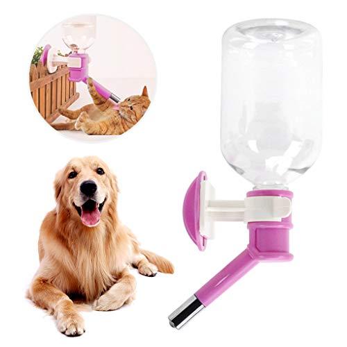 ペット自動給水器 ペットボトル 犬猫用 ウォーターボトル 水飲み ケージ付け 取り付け簡単 水漏れ防止 軽量 留守に便利 ペット用品 小動物用 ピンク