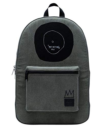 Herschel Jean-Michel Basquiat Now Is The Time Women Backpack Olive Green 100% Enzyme Washed Cotton Canvas Front Storage Pocket With Organizers and Key Clip Slim Cotton Webbing Shoulder Straps