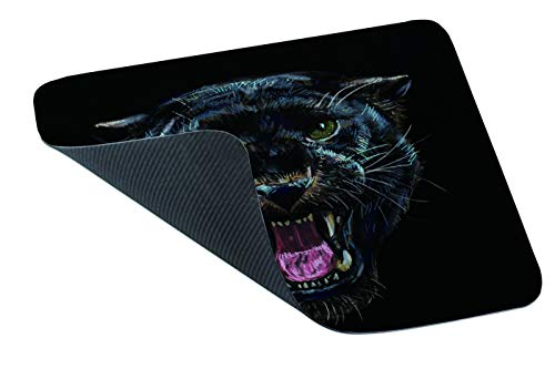 Yeuss Leopard Head Mouse Pad Rectangular Non-Slip Mousepad, Roaring Black Panther On Black Background Digital Painting Gaming Mouse Pads, Black,200mm x 240mm Photo #3