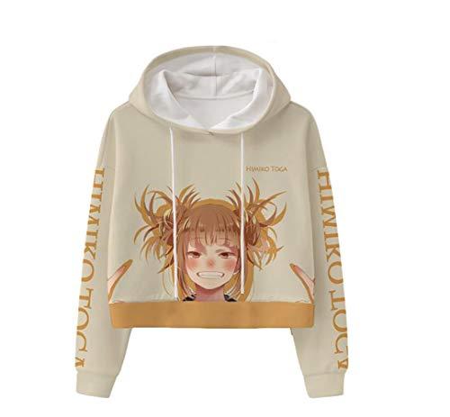 My Hero Academia Himiko Toga Crop Top Hoodie Sweater Pullover Cropped Sweatshirt for Women Girls S