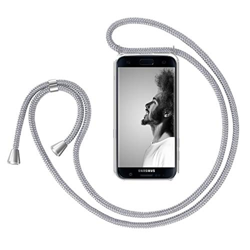 ZhinkArts Handykette kompatibel mit Samsung Galaxy S7 Edge - Smartphone Necklace Hülle mit Band - Handyhülle Case mit Kette zum umhängen in Weiß/Silber