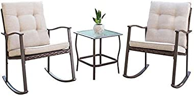 Skiway 3 Piece Outdoor Rocking Chair Set, Patio Brown Wicker Rattan Rocker, Cushioned Bistro Higher Back Rocking Chairs Set o