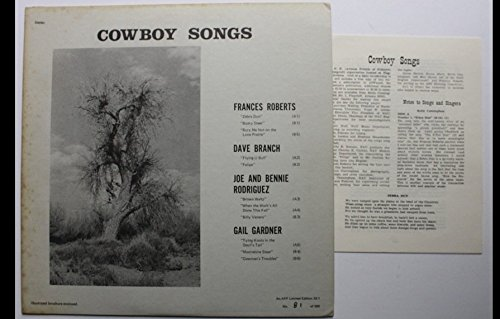 Cowboy Songs (Arizona Friends of Folklore Limited Edition) LP