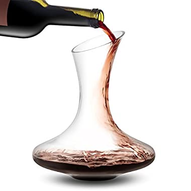 JoyJolt Lancia Wine Decanter Hand Blown Lead-free Crystal Glass Red Wine Carafe 54oz