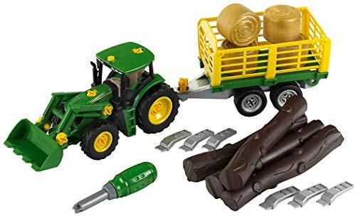 Theo Klein 3906 John Deere Traktor mit Holz-und Heuwagen