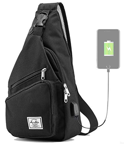 Sling Bag for Men Crossbody Shoulder Chest Bags Nylon for Travel Gym Sport Hiking with USB Charger Port(Black)