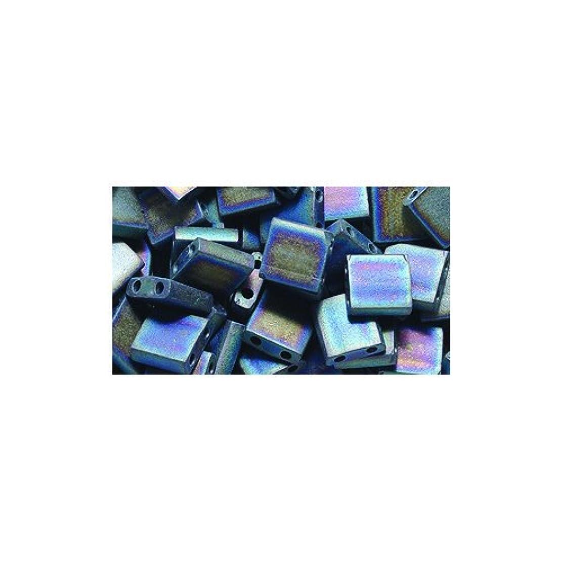 Shipwreck Beads Miyuki Tila Square Two Hole Bead, 5mm, Black Matte Aurora Borealis Finish