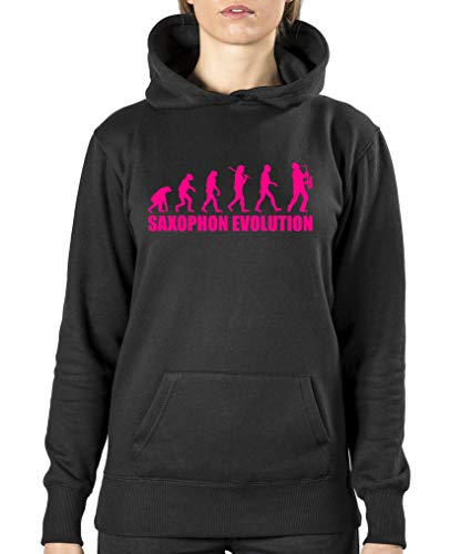 Comedy Shirts - Saxophon Evolution - Damen Hoodie - Schwarz/Pink Gr. XL