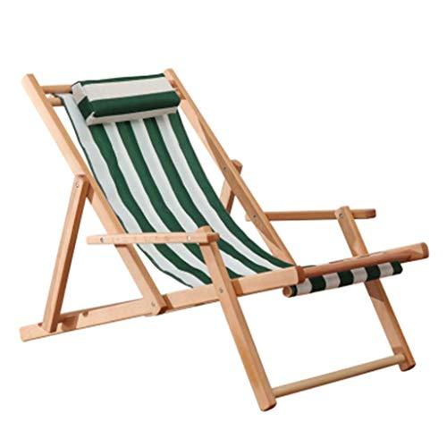 Silla Zero Gravity Sillas de cubierta clásicos con apoyabrazos del marco de la madera dura, balancín sillones reclinables, plegables reclinables silla de jardín Hamacas, verde raya blanca Muebles de j