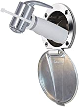 Ambassador Marine Stainless Steel Lid/Plastic Cup Recessed Shower Kit with Hammer-Head White Sprayer and 10-Feet White Rub...