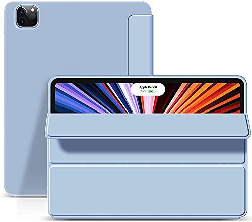 MAIGOU Caso para iPad Pro 12 9 Pulgadas 2021 Auto Sleep/Wake Lightweight Smart Trifold Stand Sylice Gel Back Cover-Azul Baifantastic