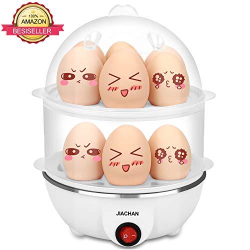 JIACHAN Egg Poacher, Hard Boiled Egg Maker, Rapid Egg Cooker With Auto Shut Off, 14 Capacity Egg, White