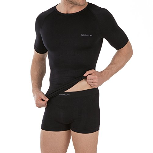 Celodoro Herren Sport Funktions Unterwäsche Set Seamless Kurzarm Shirt & Boxer Pants - Schwarz M