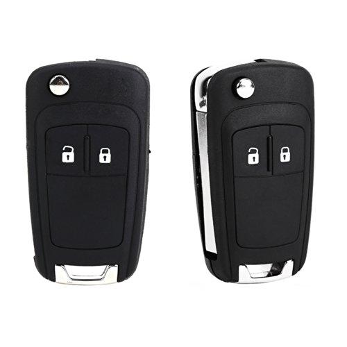 SurePromise 2x 2 Button Remote Flip Foldable Key FOB Shell Case Replacement & Uncut Blade