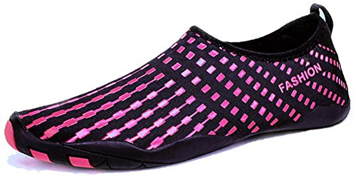 LeKuni Badeschuhe Damen Herren Schwimmschuhe Kinder Surfschuhe Barfuß Schuhe Wasserschuhe Strandschuhe Aquaschuhe rutschfeste Neoprenschuhe(1761Rose,39EU)