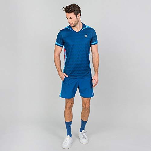 BIDI BADU Herren Polo Shirt Atmungsaktiv Sport Shirt Tennis V-Neck Ausschnitt Schnelltrocknend Dunkelblau - Tano Tech Polo - darkblue/pink, Grˆfle:XS