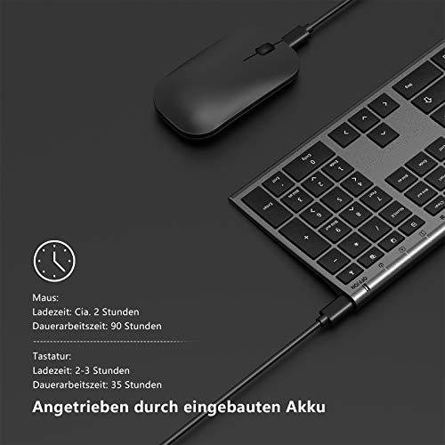 Jelly Comb Kabellose Tastatur und Maus Set, 2.4G Wireless Ultra dünn Tastatur und Flache Maus, Wiederaufladbare Funktastatur mit Deutschem Layout für PC, Laptop, Smart TV, Grau und Schwarz