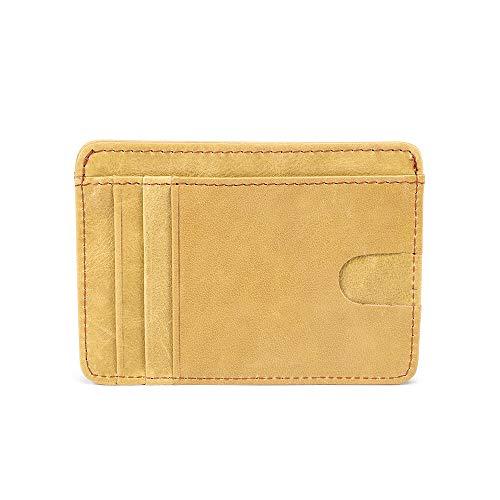 Tarjetero RFID Cartera Crédito de Visita, Tarjetera con Seguridad RFID, Delgada Minimalista Carteras del Bolsillo del Frente de Cuero para Hombres y Mujere(Verde)