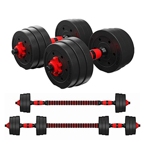 Tespon Adjustable Dumbbells Barbell 2 in 1 with Connector, Adjustable Dumbbell Barbell Sets 44lbs, Lifting Dumbells for Body Workout Home Gym(2020 Upgrade,One Pair)