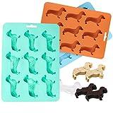 Chien Teckel Moule à glaçons Fiyuer 3 pcs bac à glaçons en silicone 3d plateau de glaçons pour Chocolat friandises pâtisserie Nourriture bébé