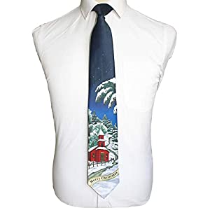GUSLESON Quality Christmas Tie Mens Soft Snowman Necktie Festival Theme Ties