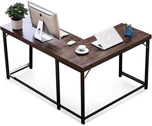 TEKAVO - Modern Reversible L Shaped Computer Desk | Industrial Corner Desk | Gaming Desk for Small Space | Home Office Workstation with Large Table Wooden Top and CRC Metal Frame Structure Leg