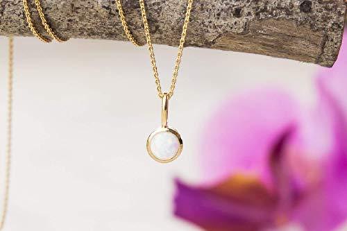Halskette mit Opal 925 silber vergoldet Geschenkidee