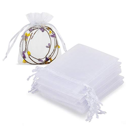 HRX Package 100pcs White Organza Jewelry Bags Drawstring 3 x 4 inch, Little Mesh Gift Pouches Mini Candy Bags for Small Presents Jewelry Earrings