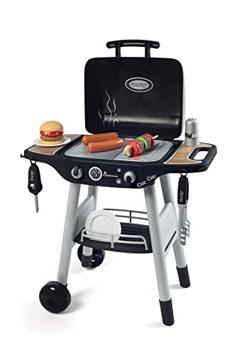 Smoby 312001 - Barbecue Kindergrill - Grill mit mechanischen Kunststoff-Flammen und Grillbesteck, 18 Zubehörteilen, für Kinder ab 3 Jahre