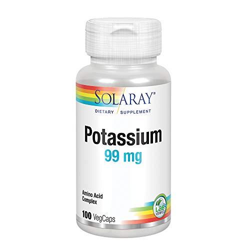Solaray Potassium 99mg   Fluid & Electrolyte Balance Formula   Heart, Nerve & Muscle Function Support   100ct, 100 Serv.