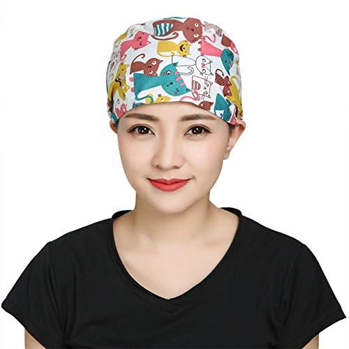 IBLUELOVER Chirurgische Mütze Unisex Baseballmütze für Krankenschwester Baumwolle bedruckt Hut verstellbar Scrub Cap Haar Pflege Veterinärzte Medikamente Gr. Taille, Mehrfarbig (Katzenmotiv)