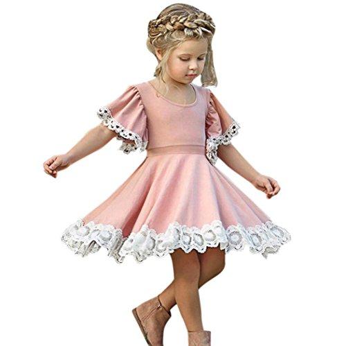 Sommerkleid Mädchen, Longra Baby Kinder Mädchen Kleider Vintage Retro Kleider Floral Spitze Kleider mit Volant-Arm Kinder Kurzarm A-line Kleider Festliche Prinzessin Kleid (Pink, 100CM 3Jahre)