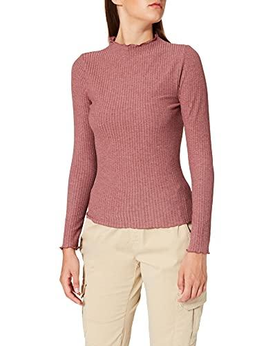 ONLY Damen ONLEMMA L/S HIGH Neck TOP NOOS JRS T-Shirt, Rose BrownDetail:Melange, M