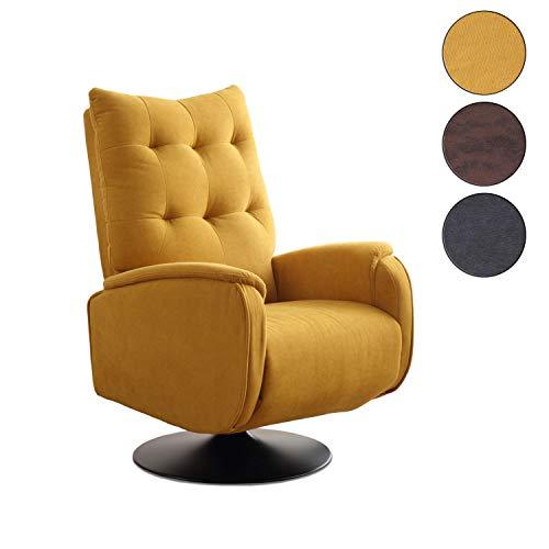 Adec - Swing, Sillón Relax Giratorio, tapizado en Tejido Color Mostaza, butaca Descanso, Medidas: 77 cm (Ancho) x 103 cm (Alto) x 73 cm (Fondo)