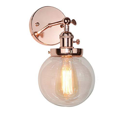 Accessori di illuminazione da parete vintage grigio retro globo industriale applique da parete in vetro accessorio per loft bar cucina caffetteria oro rosa