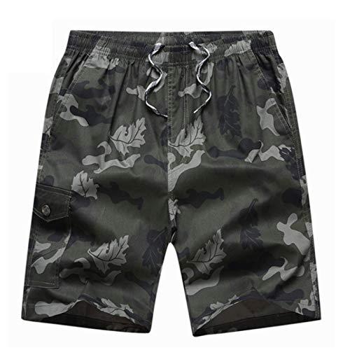 Pantalones Cortos con Estampado de Camuflaje para Hombre, Holgados, de Gran tamaño, cómodos, Transpirables, Informales, Deportivos, con Cintura elástica L