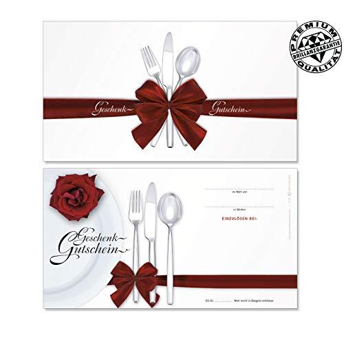 100 Stk. Hochwertige Gutscheinkarten Geschenkgutscheine. Motiv für Restaurant Gasthaus Gastronomie. Vorderseite hochglänzend. G1291