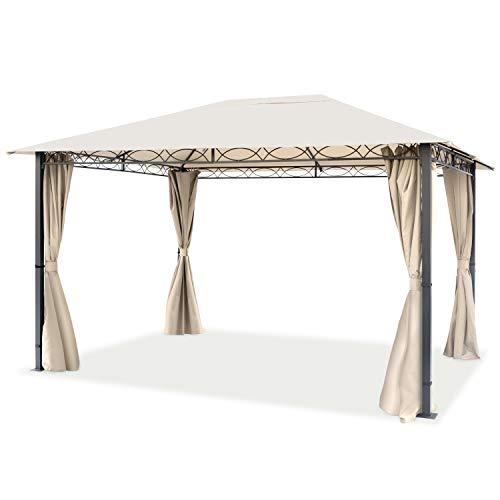TOOLPORT Cenador de jardín 3x4 m cenador Impermeable pabellón con 4 Partes Laterales 280g/m² Lona de Techo en Carpa de Fiesta Beige