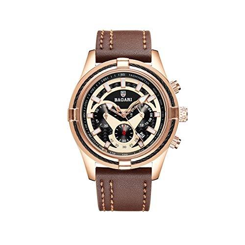 Haonb Herrenuhren 3 Auge 6-Pin-Multifunktionsuhr Lederband Wasserdicht Leuchtende Uhr, Rose Gold Shell Kaffee Gürtel