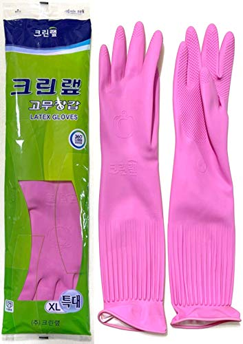 DAE YOUNG Rubber Latex Gloves Kitchen Long Washing Cleaning Skincare Pink, Color Pink (Size XL, Extra Large)