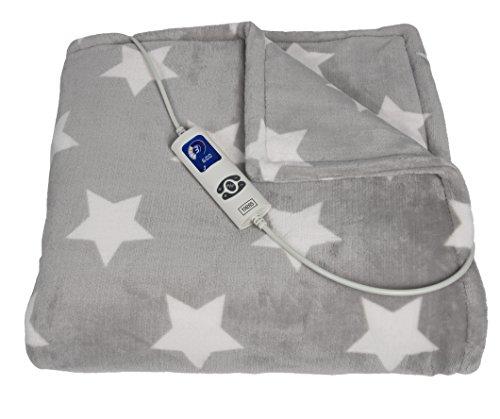 Trebs elektrische Heizdecke - 180 x 130 cm Fleece-Decke - Wärmedecke mit 6 Temperaturstufen - Zeitschaltuhr - LCD-Anzeige - Überhitzungsschutz - waschbar - Grau