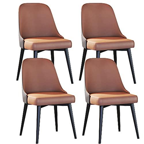 ADGEAAB Juego de 4 sillas de comedor, sillas de cocina con cojín de piel sintética, sillas de salón modernas de mediados de siglo con patas de metal (color camello claro y gris)